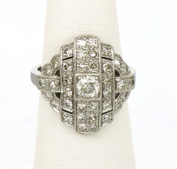 10: PLATINUM ART DECO 1.25CT DIAMOND RING