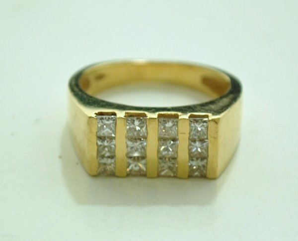 5: MENS 14KT Y.G. 1.50CT DIAMOND RING