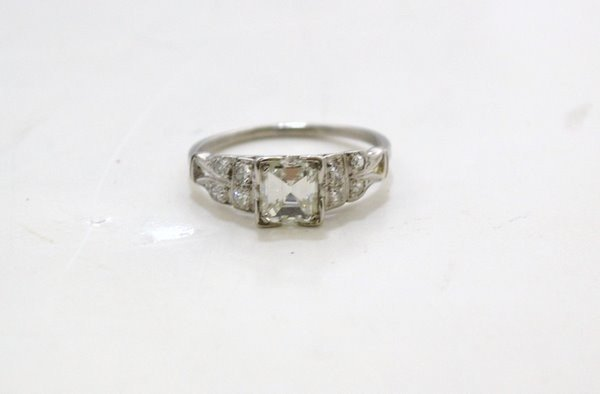 7: PLATINUM ART DECO .93CT  DIAMOND RING