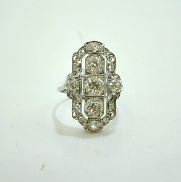 2: PLATINUM ART DECO 3.00CT DIAMOND RING