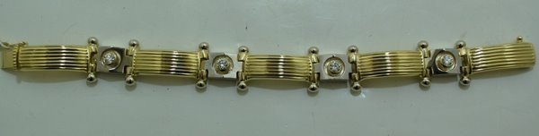 4: MENS 14KT 2 TONE DIAMOND BRACELET 1.80CT