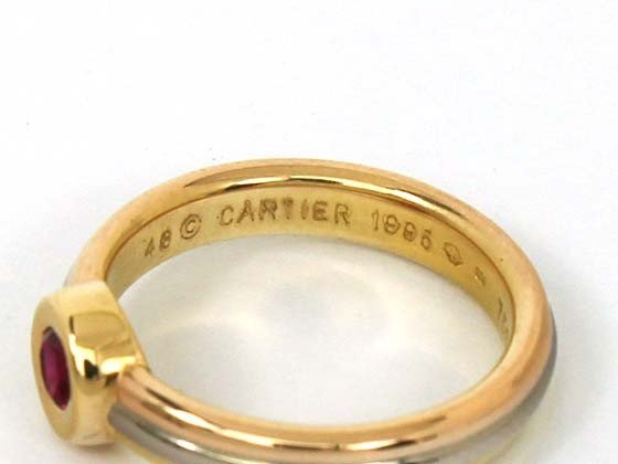 34: 18KT TRICOLOR CARTIER RUBY RING - 2