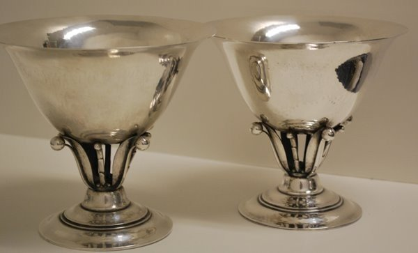 45: PAIR LARGE STERLING GEORG JENSEN CANDY COMPOTE