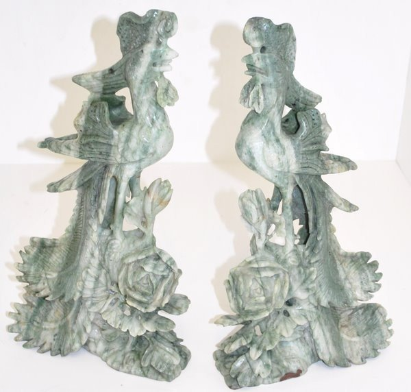 4: LARGE ORIENTAL JADE CARVINGS OF BIRDS