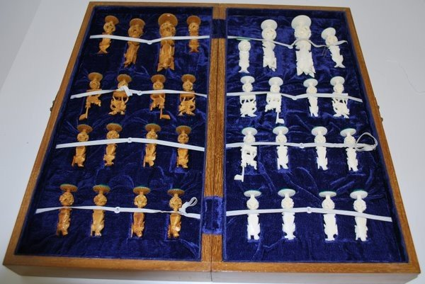 6: CHINESE CARVED IVORY CONCENTRIC BALL CHESS SET