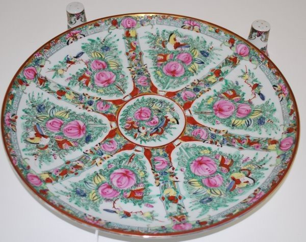 16: LARGE ROSE MEDALLION PLATTER WITH SALT & PEPPER SHA
