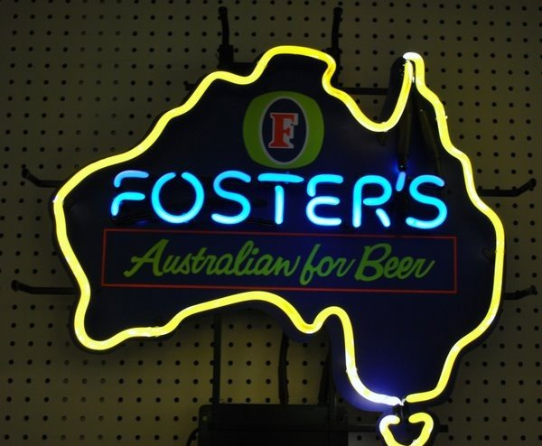 "19: NEON BEER SIGN ADVERTISING "" FOSTERS """