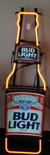 22: TALL NEON BEER SIGN ADVERTISING BUD LIGHT