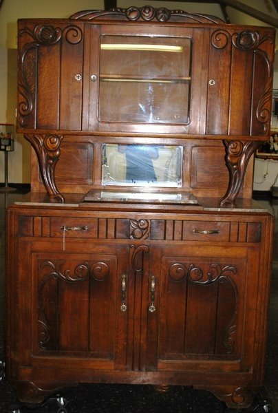 24: ANTIQUE MARBLE TOP BUFFET CABINET