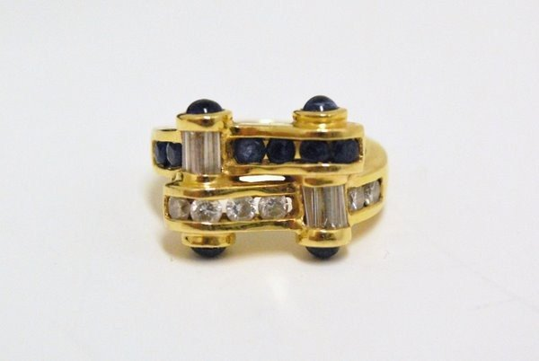 14: LADYS 18KT SAPPHIRE AND DIAMOND RING