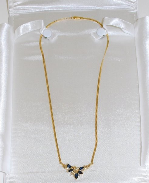 19: 14KT Y.G. SAPPHIRE AND DIAMOND NECKLACE
