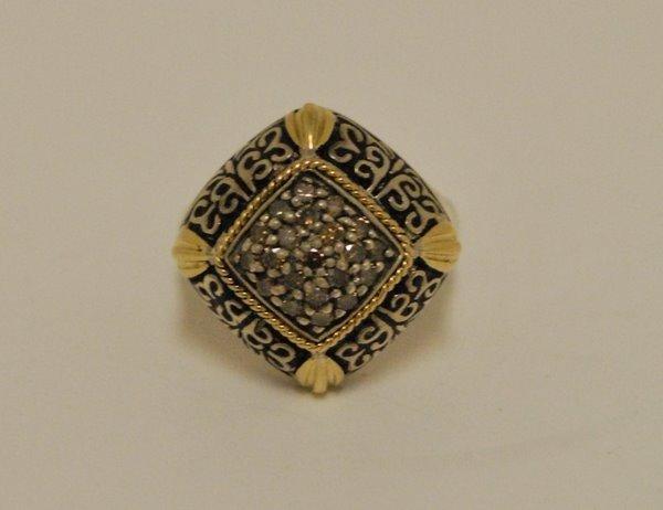 22: LADIES STERLING/18KT DIAMOND EFFEY RING