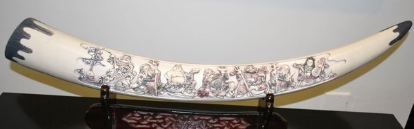1: LARGE IVORY 19th CENTURY TUSK CARVING