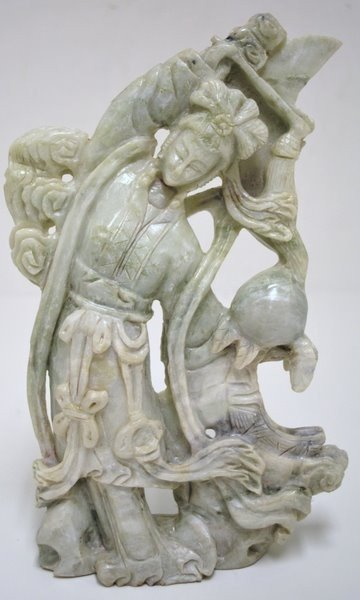 4: LARGE JADE CARVING OF A ORIENTAL WOMAN