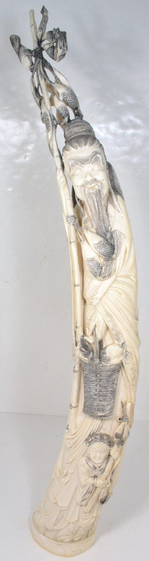 15A: ARTIST SIGNED AFRICAN ELEPHANT IVORY TUSK