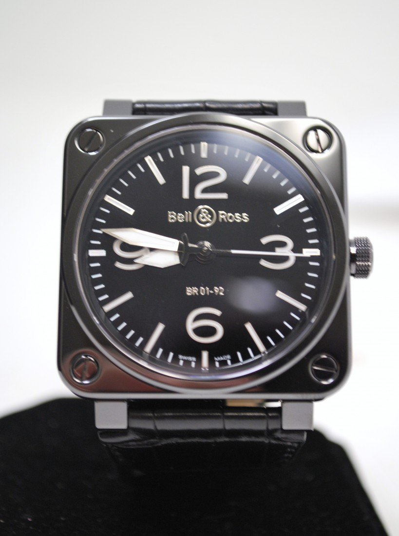 10K: NEW BELL &  ROSS BLACK CERAMIC AND S/S WRISTWATCH
