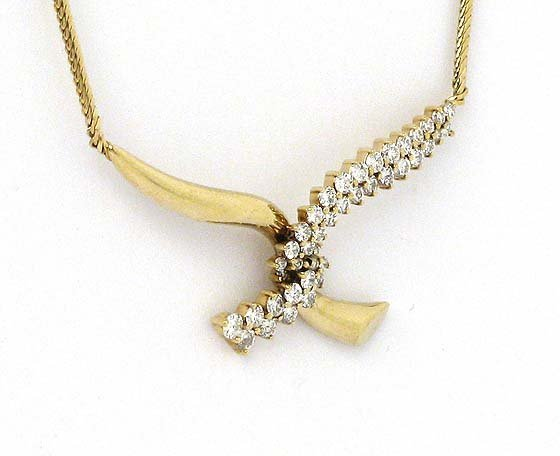 105: LADIES 14KT YG JOSE HESS 1.35 CT DIAMOND NECKLACE