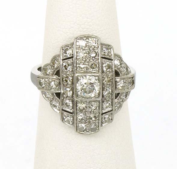 108: LADIES ART DECO PLATINUM 1.25CT DIAMOND RING