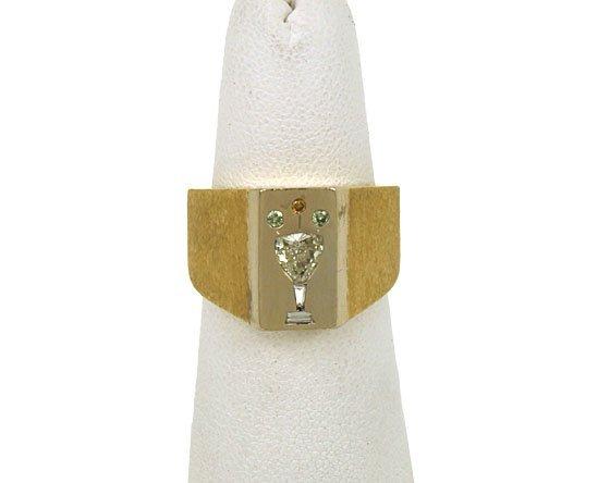 109: MENS ESTATE 18KT Y.G. CHAMPAGNE DIAMOND RING