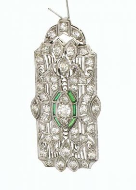 110: PLATINUM ART DECO 1CT DIAMOND PENDANT/PIN