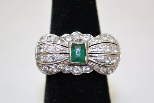 146: LADIES 14KT W.G. EMERALD AND DIAMOND RING