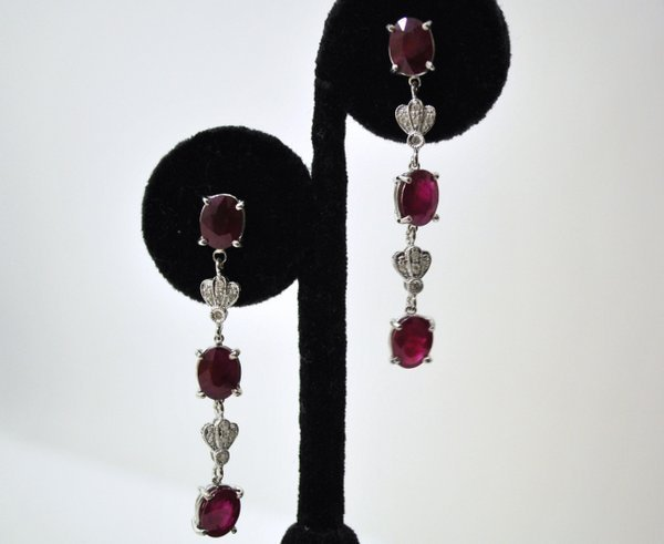 3: 18KT W.G. RUBY AND DIAMOND EARRINGS  5.00CT