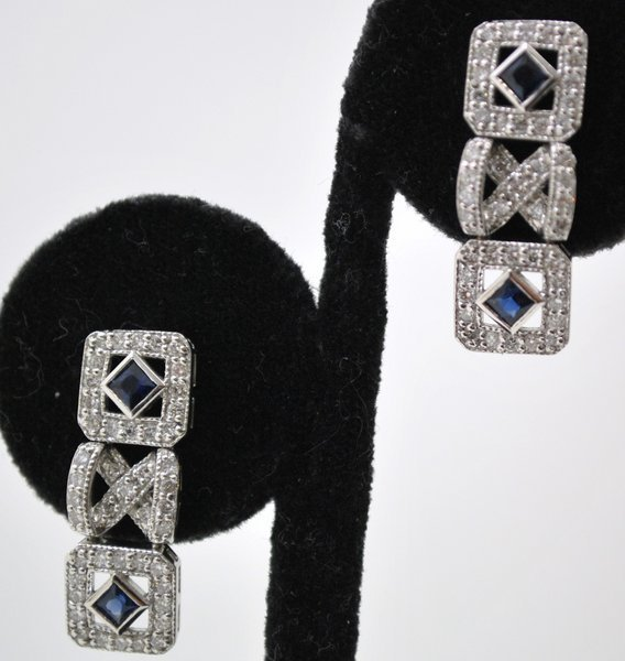 4: 14KT W.G. ART DECO STYLE DIAMOND EARRINGS