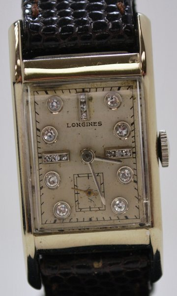 3: 14KT LONGINES WITH DIAMOND DIAL