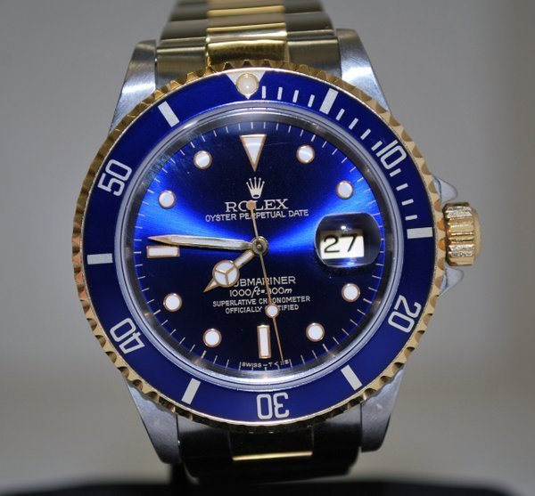 28: ROLEX MENS 18KT/SS SUBMARINER BOX AND PAPERS