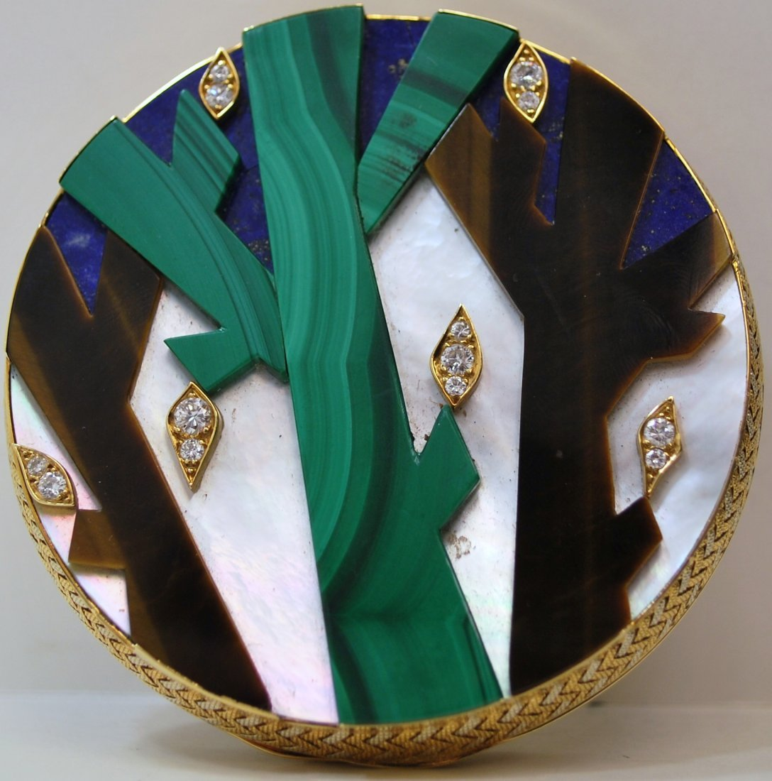 133: 18KT TRICOLOR FRED MULTI GEMSTONE COMPACT