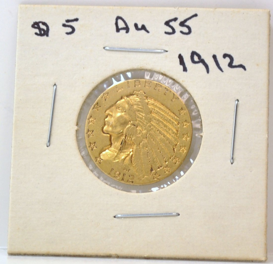2: US $5 GOLD INDIAN COIN 1912
