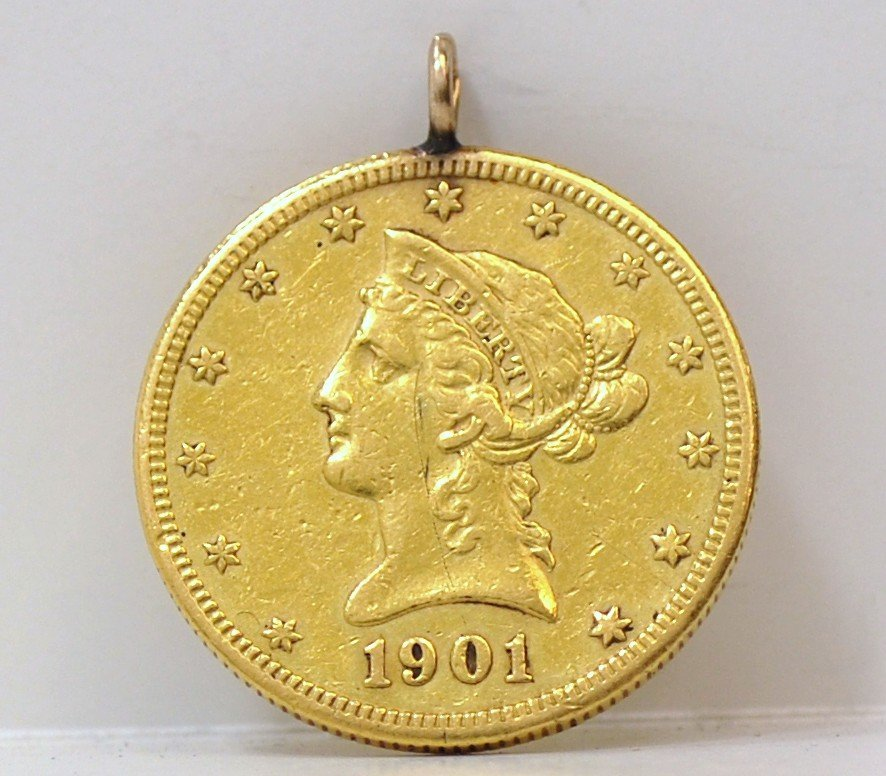 13: US $10 LIBERTY COIN PENDANT