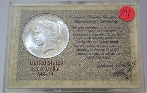 2: 1922 PEACE DOLLAR