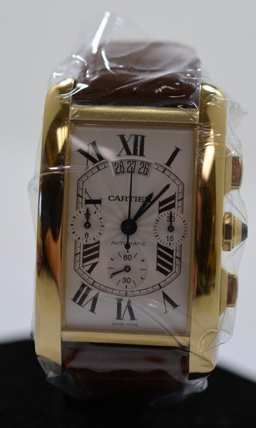 49: MENS 18KT Y.G CARTIER TANK AMERICAINE XL NEW
