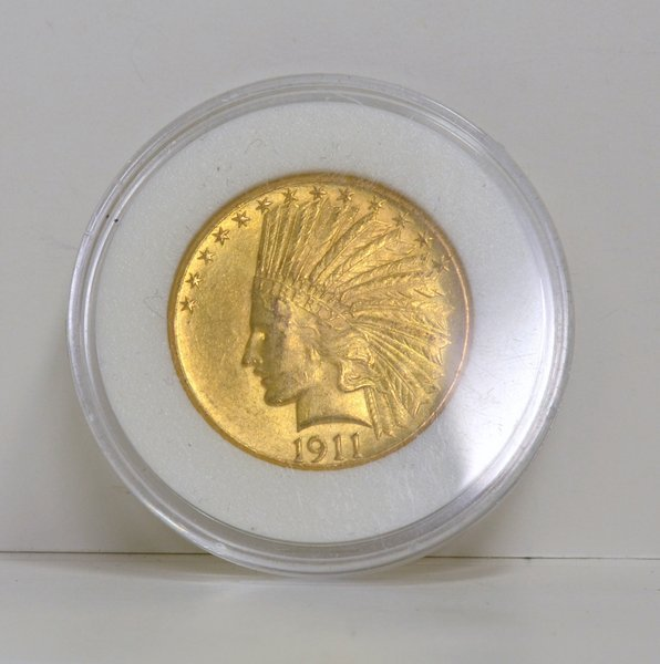 18: GOLD $10.00 US INDIAN COIN 1911