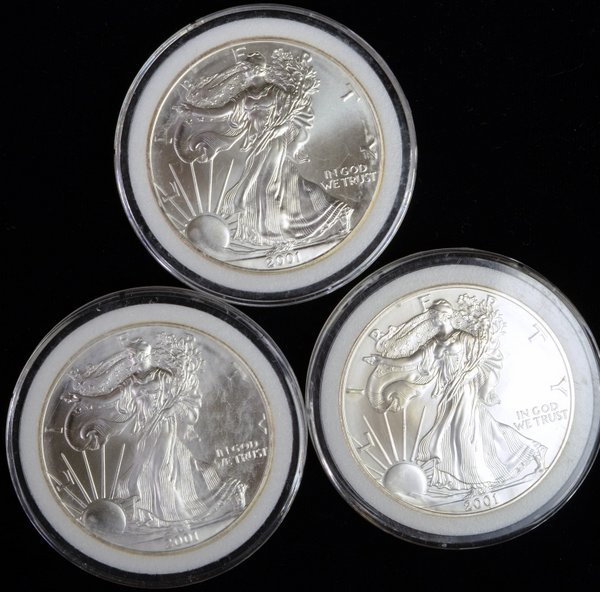 1: LOT OF 3 SILVER LIBERTY DOLLARS