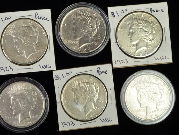 3: LOT OF 6 SILVER PEACE DOLLARS