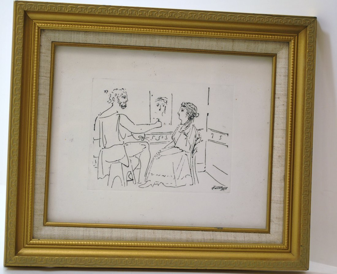 13: FRAMED PABLO PICASSO ETCHING