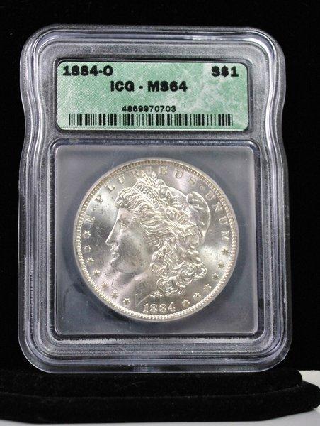 1885 O $1 MORGAN SILVER DOLLAR MS64 ICG