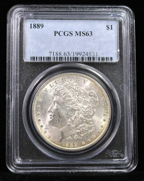 1889 $1 MORGAN SILVER DOLLAR MS 63 PCGS