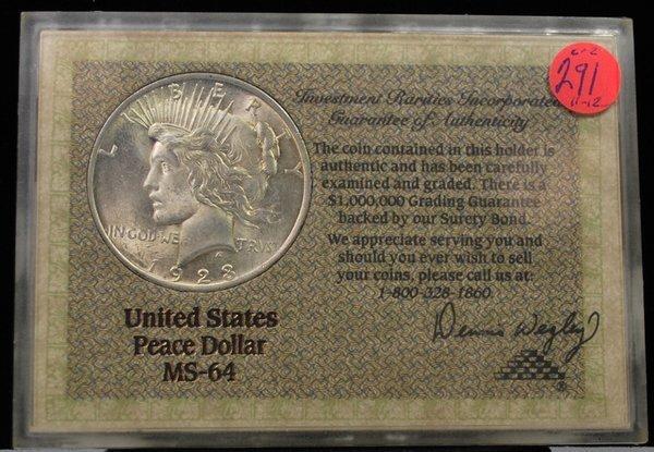 1923 $1 PEACE MS 64 RARITIES