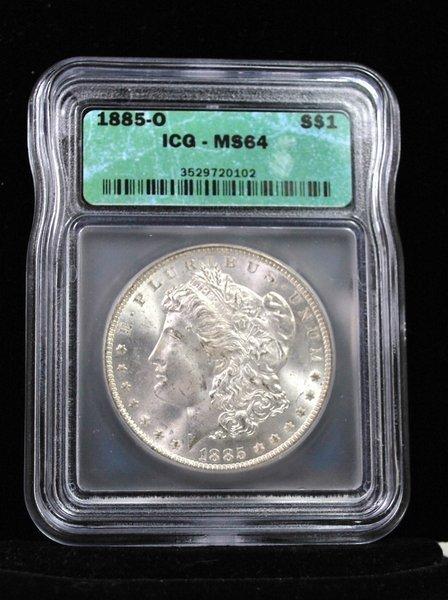 1885 O $1 MORGAN SILVER DOLLAR MS 64 ICG