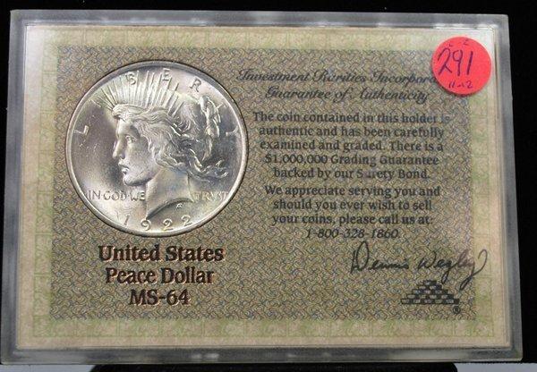 1922 $1 PEACE SILVER DOLLAR MS64