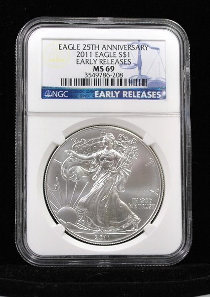 2011 EARLY RELEASE SILVER EAGLE MS69 NGC