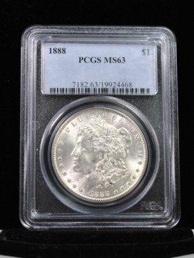 1888 MORGAN SILVER DOLLAR MS 63 PCGS