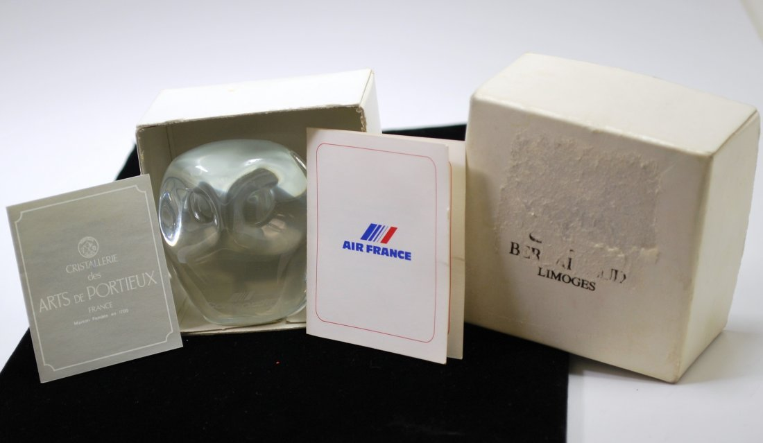 CONCORDE AIR FRANCE PORTIEUX CRYSTAL OWL PAPERWEIGHT