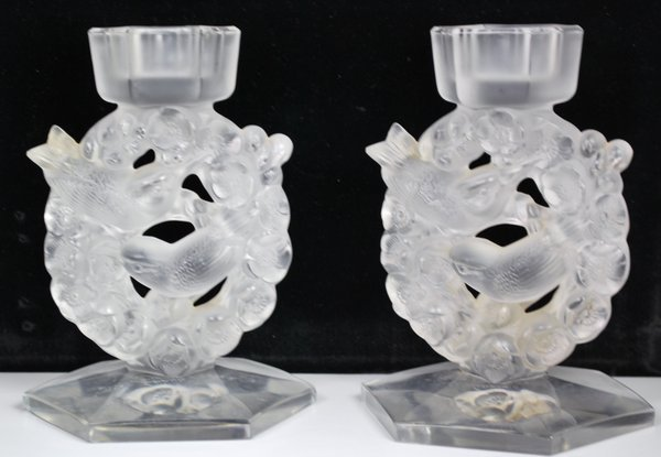 LALIQUE PAIR OF CANDLESTICKS