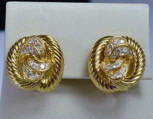 18KT Y.G. VAN CLEEF AND ARPELS DIAMOND EARRINGS