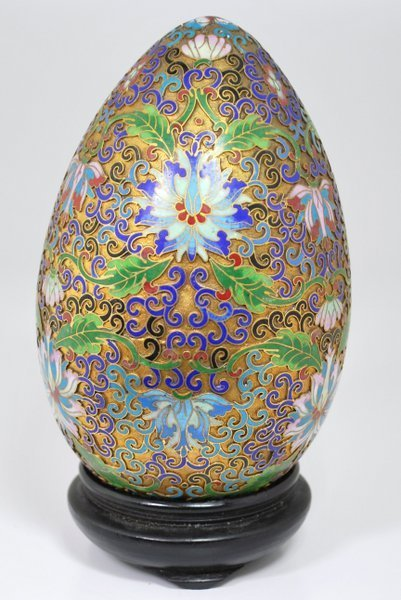 LARGE REVERSE PAINTED CLOISONEE EGG