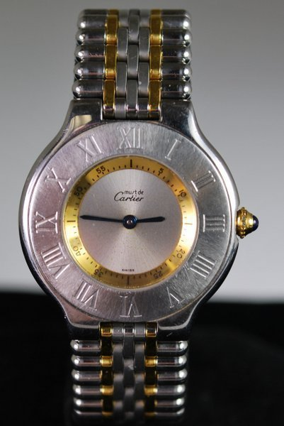 LADIES 18KT/SS CARTIER 21 WATCH